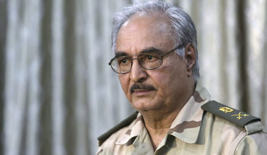 "Libyan militia leader Gen. Khalifa Haftar, who commands the rebel forces, spoke last week directly with President Trump, startling U.S. allies and upended American diplomacy in the North African nation. During the April 15 phone call, Mr. Trump reportedly praised Gen. Haftar's ""significant role in fighting terrorism and securing Libya's oil resources."" (Associated Press)"