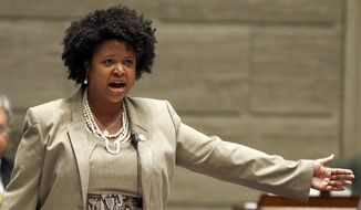 In this Sept. 10, 2014, file photo, Missouri state Sen. Maria Chappelle-Nadal speaks on the Senate floor in Jefferson City, Mo. (AP Photo/Jeff Roberson, File)