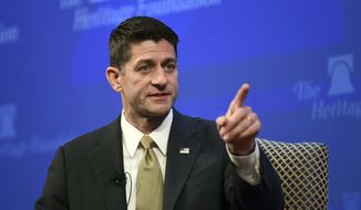 House Speaker Paul Ryan of Wis., speaks at the Heritage Foundation in Washington, Thursday, Oct. 12, 2017. (AP Photo/Susan Walsh) ** FILE **