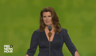 "Kimberlin Brown, an actress on CBS's ""Bold and the Beautiful,"" is shown here in a speech at the 2016 Republican convention. Ms. Brown has announced she is challenging Democratic incumbent Rep. Raul Ruiz in the 2018 congressional midterms. (PBS/YouTube)"