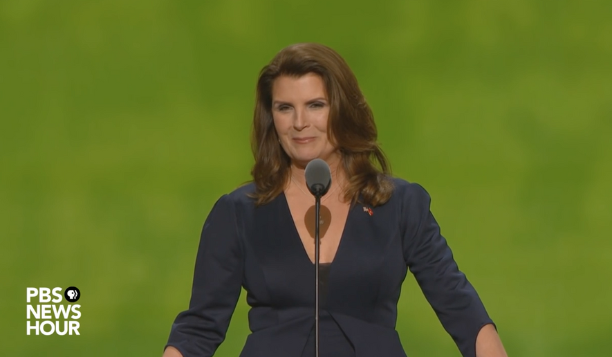 """Kimberlin Brown, an actress on CBS's """"Bold and the Beautiful,"""" is shown here in a speech at the 2016 Republican convention. Ms. Brown has announced she is challenging Democratic incumbent Rep. Raul Ruiz in the 2018 congressional midterms. (PBS/YouTube)"""