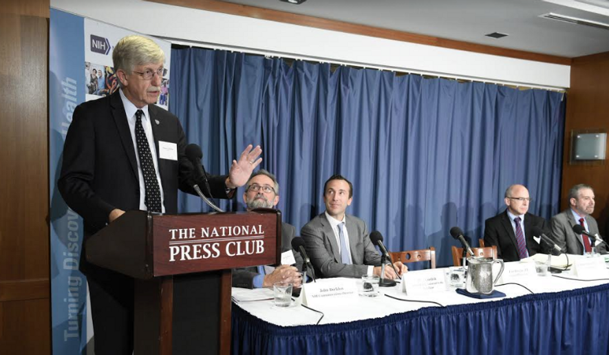 NIH Director Dr. Francis Collins announces 'Cancer Moonshot', a $215 million private-public partnership to advance the study of cancer immunotherapy at the National Press Club in Washington D.C. on Thursday. (Andrew Propp/NIH)
