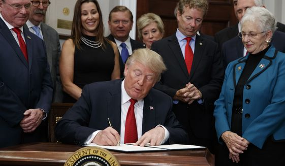 President Trump signs an executive order ending government subsidy payments to insurance companies under Obamacare, a program never approved by Congress, on Oct. 12, 2017. (Associated Press)