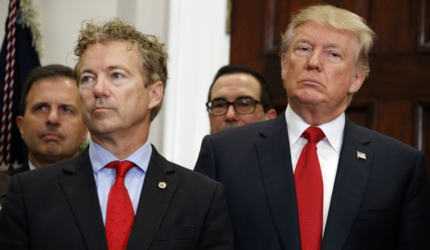 "Sen. Rand Paul, Kentucky Republican, said President Trump's executive order is ""the biggest free market reform of health care in a generation."" (Associated Press)"