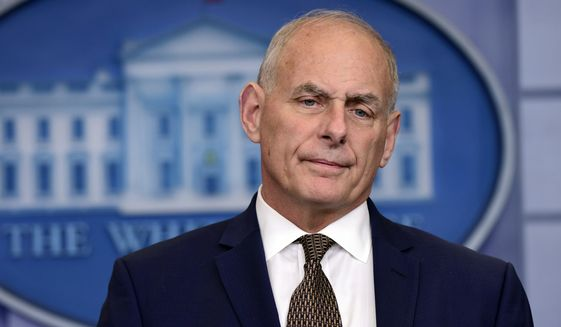 """White House Chief of Staff John Kelly began by saying, """"Although I read it all the time, pretty consistently, I'm not quitting today."""" (Associated Press)"""