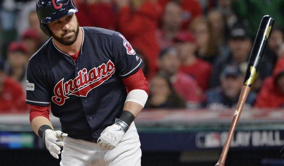 Cleveland Indians' Jason Kipnis throws his bat after striking out against New York Yankees relief pitcher Aroldis Chapman during the eighth inning of Game 5 of a baseball American League Division Series, Wednesday, Oct. 11, 2017, in Cleveland. (AP Photo/Phil Long)