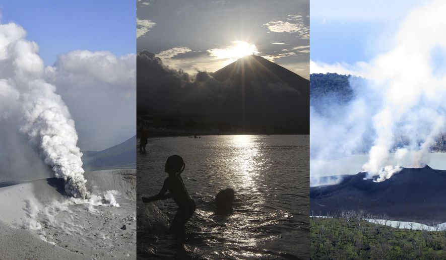 """In this combination of photos, from left to right: Shinmoedake volcano in southwestern Japan on Oct. 12, 2017; Mount Agung in Bali on Oct. 8, 2017; Manaro volcano on Vanuatu on Oct. 1, 2017. The horse shoe shaped string of active volcanos bounding the Pacific Ocean has lived up to its """"Ring of Fire"""" calling card in the past month, sparking mass evacuations in Indonesia and Vanuatu and now setting parts of south-western Japan on edge. The 450 or so volcanos that make up the Ring of Fire are an outline of where the massive Pacific Plate is grinding against other plates that make up the earth's crust, creating a 40,000 kilometer-long (25,000 mile) zone prone to frequent earthquakes and eruptions. (Kyodo, Vanuatu Meteorological and GeoHazards Department via AP)"""