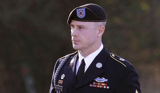 In this Jan. 12, 2016, file photo, Army Sgt. Bowe Bergdahl arrives for a pretrial hearing at Fort Bragg, N.C.   Bergdahl will appear before a judge, Monday, Oct. 16, 2017,  to enter an expected guilty plea to charges that he endangered comrades by walking off his remote post in Afghanistan in 2009. (AP Photo/Ted Richardson, File)