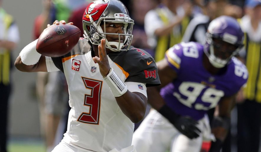FILE - In this Sept. 24, 2017, file photo, Tampa Bay Buccaneers quarterback Jameis Winston (3) drops back to throw a pass during the first half of an NFL football game against the Minnesota Vikings in Minneapolis. The Buccaneers face the Arizona Cardinals on Sunday. (AP Photo/Jim Mone, File)