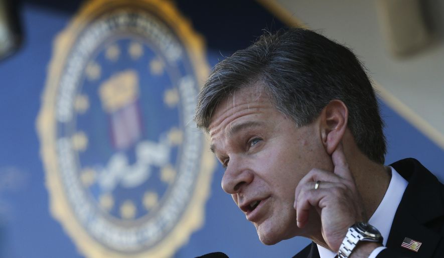 FBI Director Christopher Wray strains to hear a question as he speaks to reporters after a dedication ceremony for the new building that will house the bureau's Atlanta Field Office on Thursday, Oct. 12, 2017, in Atlanta. (AP Photo/John Bazemore)