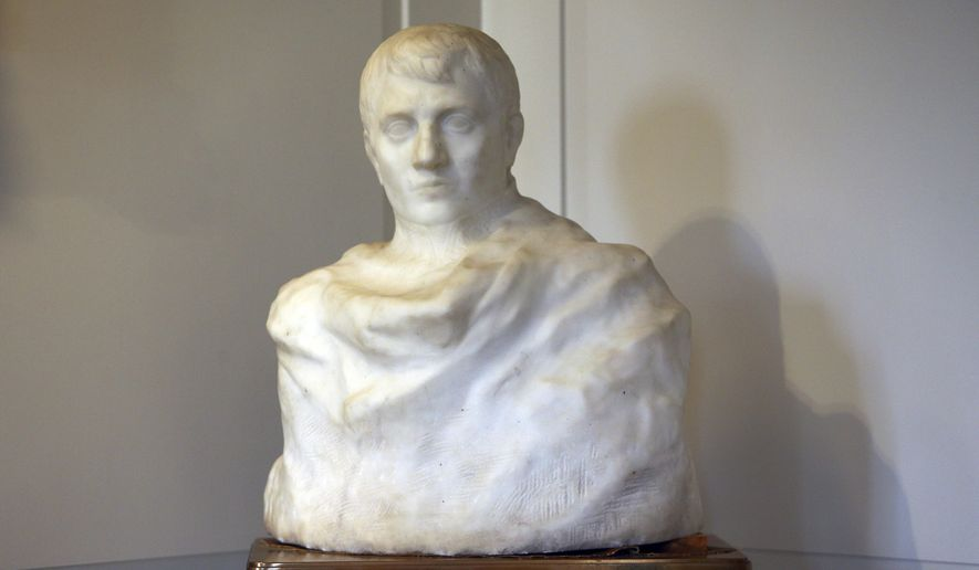 In this Oct. 11, 2017 photo, a marble bust of Napoleon is on display in Madison, N.J. The bust by French sculptor Auguste Rodin long thought to be lost has been found on display in a New Jersey borough hall where it sat for 85 years. (Bob Karp/The Daily Record via AP)