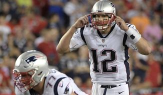 FILE - In this Oct. 5, 2017, file photo, New England Patriots quarterback Tom Brady (12) calls out a signal during the second half of an NFL football game against the Tampa Bay Buccaneers in Tampa, Fla. The Patriots face the New York Jets on Sunday. (AP Photo/Phelan M. Ebenhack, File)