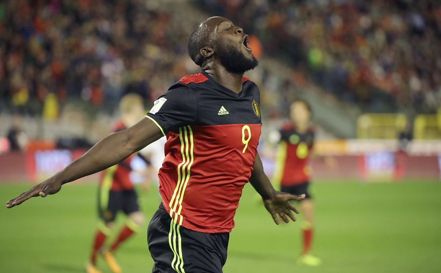 Belgium's Romelu Lukaku celebrates after scoring during the World Cup 2018 Group H qualifying soccer match between Belgium and Cyprus at the King Baudouin Stadium in Brussels, Belgium, Tuesday, Oct. 10, 2017. (AP Photo/Olivier Matthys)