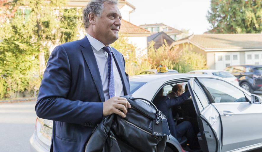 Jerome Valcke, former FIFA Secretary General, arrives at the Court of Arbitration for Sport (CAS) to challenge his ten-year suspension imposed by FIFA in Lausanne, Switzerland,  Wednesday, Oct 11, 2017.  (Cyril Zingaro/Keystone via AP)