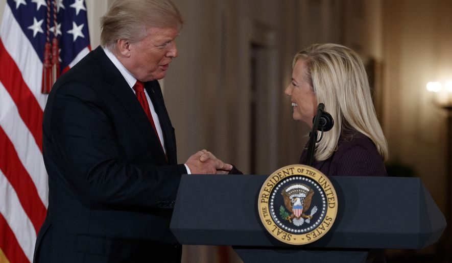 President Donald Trump congratulates Kirstjen Nielsen, his nominee to be secretary of Homeland Security, in the East Room of the White House, Thursday, Oct. 12, 2017, in Washington. (AP Photo/Evan Vucci)