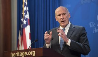 Director of National Intelligence Dan Coats speaks at a Heritage Foundation event on Section 702 of FISA on Friday, Oct. 13, 2017 in Washington. (AP Photo/Kevin Wolf)