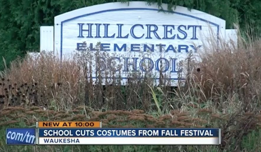 "Hillcrest Elementary School in Waukesha, Wisconsin, is banning children from wearing Halloween costumes during their annual fall parade on Oct. 31, instead instituting ""Hat Day"" so that all children of different religious and economic backgrounds can participate. (WTMJ)"