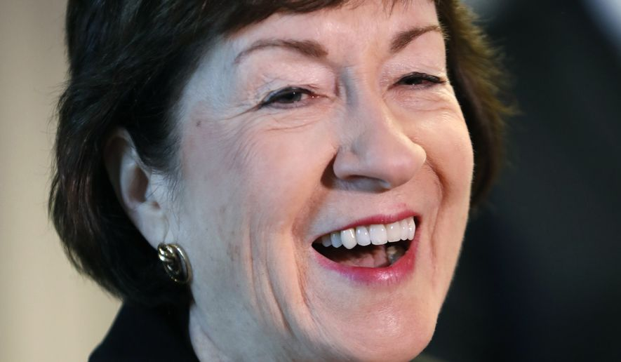 In this Sept. 29, 2017, file photo, Sen. Susan Collins, R-Maine, speaks at a news conference at Bath Iron Works in Bath, Maine. (AP Photo/Robert F. Bukaty, File)