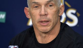 New York Yankees manager Joe Girardi answers questions after the Yankees defeated the Cleveland Indians 5-2 in Game 5 of  baseball American League Division Series, early Thursday, Oct. 12, 2017, in Cleveland. (AP Photo/Phil Long)