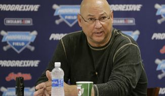 Cleveland Indians manager Terry Francona answers questions during a baseball news conference, Friday, Oct. 13, 2017, in Cleveland. Two days after the Indians' stunning early elimination from the postseason, president Chris Antonetti and Francona discussed what went wrong and are looking ahead to some major offseason decisions for the AL Central champions. (AP Photo/Tony Dejak)