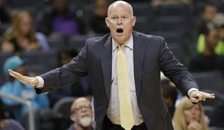Charlotte Hornets head coach Steve Clifford reacts to a call in the second half of a preseason NBA basketball game against the Dallas Mavericks in Charlotte, N.C., Friday, Oct. 13, 2017. Clifford was called for a technical foul. (AP Photo/Chuck Burton)