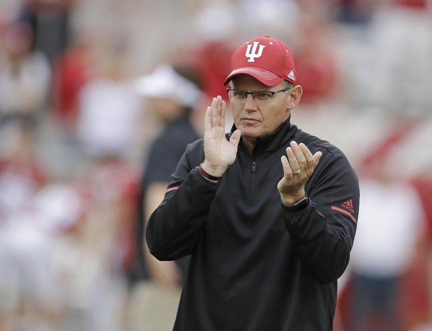 FILE - In this Aug. 31, 2017, file photo, Indiana coach Tom Allen watches as Indiana prepares for an NCAA college football game against Ohio State in Bloomington, Ind. Indiana faces Michigan on Saturday, Oct. 14, 2017. (AP Photo/Darron Cummings, File)