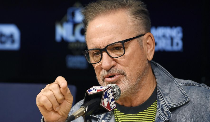 Chicago Cubs manager Joe Maddon speaks during a press conference, Friday, Oct. 13, 2017, in Los Angeles about Game 1 of the National League Championship Series against the Los Angeles Dodgers on Saturday. (AP Photo/Mark J. Terrill)