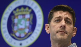Speaker of the House Paul Ryan, R-Wis., pauses during a press conference at the Emergency Operations Center, in San Juan, Puerto Rico, Friday, Oct. 13, 2017. Ryan received a first-hand look at devastation left by Hurricane Maria in Puerto Rico as the island seeks billions in assistance to recover from the storm.  (AP Photo/Carlos Giusti)