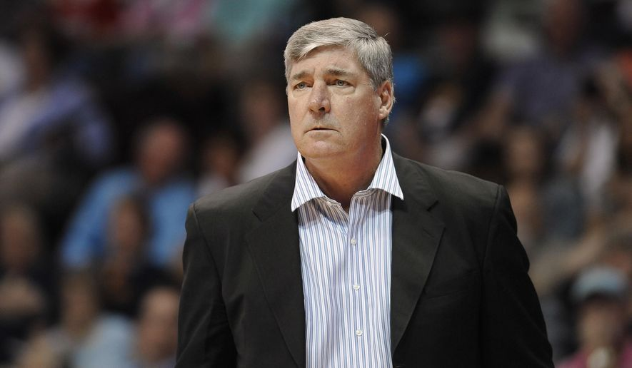 FILE - In this Aug. 29, 2015, file photo, New York Liberty coach Bill Laimbeer watches during the team's WNBA basketball game against the Connecticut Sun in Uncasville, Conn. Laimbeer will be the new coach and general manager of the San Antonio Stars when the team is sold and relocated, according to a person with knowledge of the deal. The person spoke to The Associated Press on condition of anonymity Friday night because there's no official announcement of the hiring. (AP Photo/Jessica Hill, File)