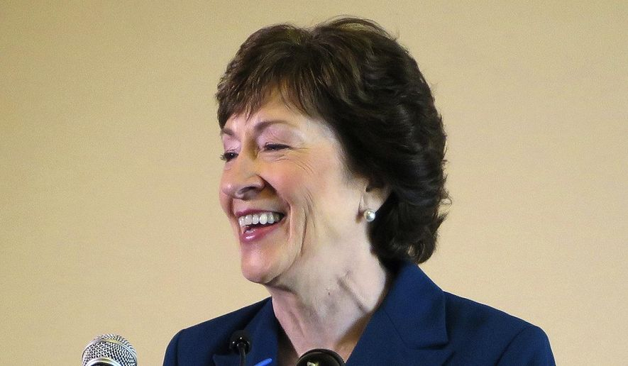 Sen. Susan Collins, R-Maine, smiles during a news conference Friday, Oct. 13, 2017, in Rockland, Maine. (AP Photo/David Sharp) ** FILE **