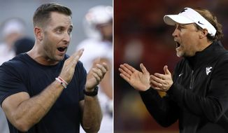 FILE - At left, in a Sept. 10, 2016, file photo, Texas Tech coach Kliff Kingsbury claps as players warm up for an NCAA college football against Arizona State, in Tempe, Ariz. At right, in a Nov. 26, 2016, file photo, West Virginia coach Dana Holgorsen reacts during the second half of an NCAA college football game against Iowa State, in Ames, Iowa. Kingsbury's only win over West Virginia in four previous tries came in Morgantown, West Virginia, in 2013, when the Red Raiders scored the final 21 points of the game to win 37-27. No. 24 Texas Tech plays the Mountaineers on Saturday. (AP Photo/File)