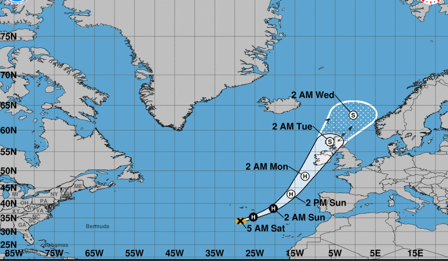 Depicted is a map via the website for NOAA showing the possible track of Hurricane Ophelia as it approached the western coast of Ireland. (NOAA)