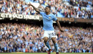 Manchester City's Gabriel Jesus celebrates scoring his side's second goal of the game during the English Premier League soccer match between Manchester City and Stoke City at Etihad Stadium, Manchester, England, Saturday, Oct. 14, 2017. (Mike Egerton/PA via AP)