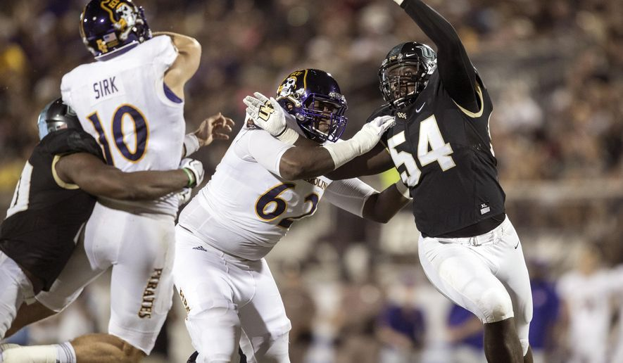 Central Florida defensive lineman A.J. Wooten (54) rushes while blocked by East Carolina offensive lineman Brandon Smith (62) as Central Florida linebacker Titus Davis (10) hits East Carolina quarterback Thomas Sirk (10) who throws an interception during the first half of an NCAA college football game, Saturday, Oct. 14, 2017, in Orlando, Fla. (AP Photo/Willie J. Allen Jr.)