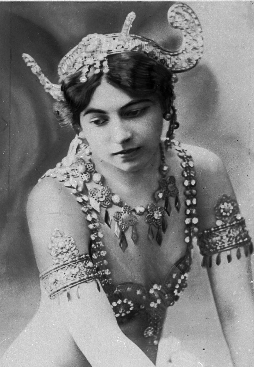 """An undated photo of dancer """"Mata Hari"""". Born Margaretha Zelle who was executed during World War I for being a spy. A century ago, on Oct. 15, 1917, an exotic dancer named Mata Hari was executed by a French firing squad, condemned as a sultry Dutch double agent who supposedly led tens of thousands of soldiers to their death during World War I. (AP Photo/Virginia Mayo)"""