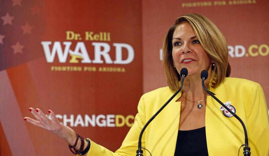 Kelli Ward, conservative Republican candidate for the Senate seat in Arizona, sent a fundraising message to voters Tuesday night to capitalize on the decision of incumbent Republican Sen. Jeff Flake not to seek reelection.(David Kadlubowski/The Arizona Republic via AP)/The Arizona Republic via AP)