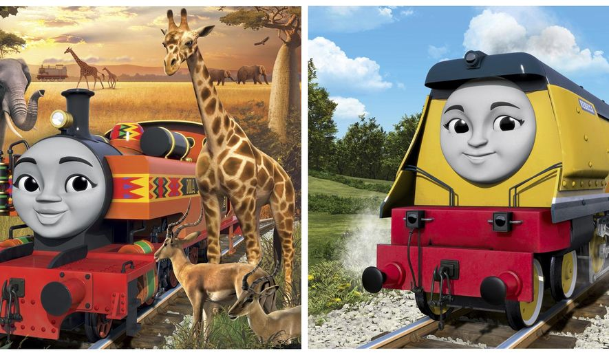 """This photo combo of images provided by Mattel, Inc. shows Nia, left, and Rebecca, the two new female characters who will join the new Steam Team in the 2018 series """"Thomas and Friends: Big World! Big Adventures!"""" The newly aligned Steam Team will now consist of four boys and three girls, giving the show more gender balance. (Mattel, Inc. via AP)"""