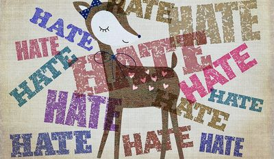 "Illustration on the overuse of the word, ""hate"" by Greg Groesch/The Washington Times"