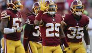 Washington Redskins cornerback Kendall Fuller (29) celebrates his interception in the closing seconds of the second half of an NFL football game against the San Francisco 49ers in Landover, Md., Sunday, Oct. 15, 2017. The Redskins defeated the 49er 26-24. (AP Photo/Mark Tenally)