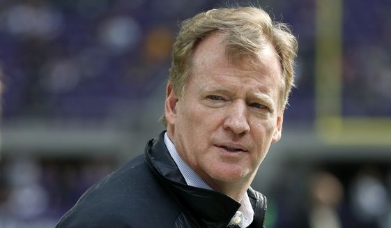 NFL Commissioner Roger Goodell watches from the sidelines before an NFL football game between the Minnesota Vikings and Green Bay Packers in Minneapolis, Sunday, Oct. 15, 2017. (AP Photo/Bruce Kluckhohn)
