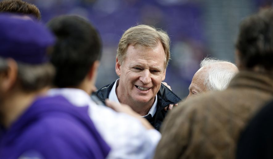 NFL Commissioner Roger Goodell watches before an NFL football game between the Minnesota Vikings and Green Bay Packers in Minneapolis, Sunday, Oct. 15, 2017. (AP Photo/Bruce Kluckhohn)