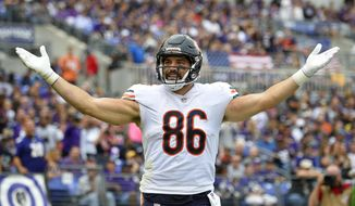 Chicago Bears tight end Zach Miller celebrates after scoring a touchdown in the first half of an NFL football game against the Baltimore Ravens, Sunday, Oct. 15, 2017, in Baltimore. (AP Photo/Nick Wass)