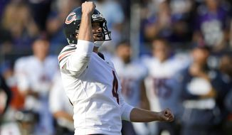 Chicago Bears kicker Connor Barth reacts after kicking the game-winning field goal in an overtime period of an NFL football game against the Baltimore Ravens, Sunday, Oct. 15, 2017, in Baltimore. Chicago won 27-24 in overtime. (AP Photo/Nick Wass)