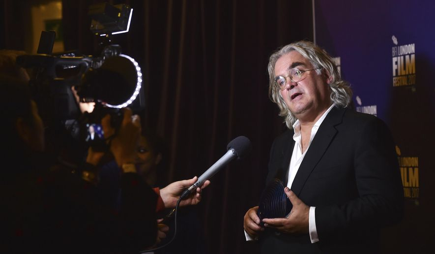 BFI Fellowship winner Paul Greengrass in the press room at the Film Festival Awards, part of the BFI London Film Festival, at Banqueting House, London Saturday, Oct. 14, 2017.  (Matt Crossick/PA via AP)