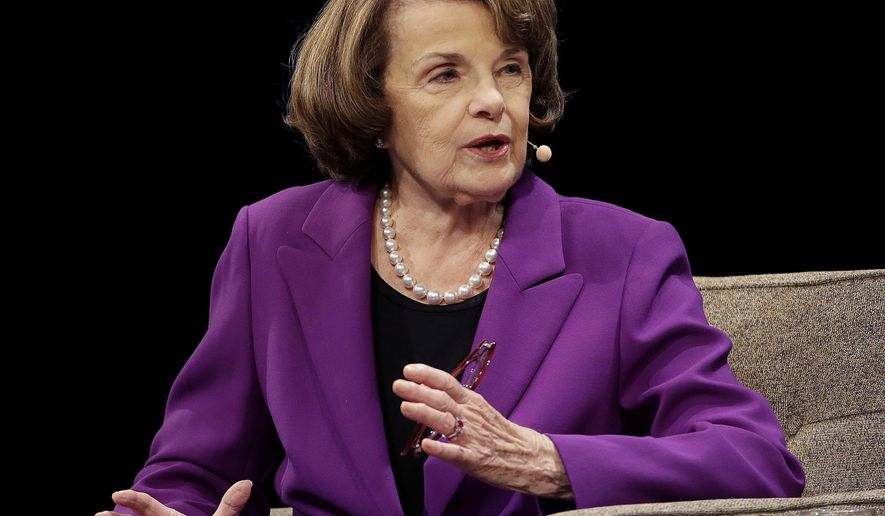 "FILE - In this Aug. 29, 2017, file photo, United States Sen. Dianne Feinstein, D-Calif., speaks at the Commonwealth Club in San Francisco. Feinstein, a veteran California Democrat, said Monday, Oct. 9, 2017, that she's running for another term. The 84-year-old took to Twitter to declare that ""I'm all in."" Democrat Kevin de Leon, president of California State Senate, announced Sunday, Oct. 15, 2017 he will challenge Sen. Dianne Feinstein in next year's election. (AP Photo/Jeff Chiu, File)"