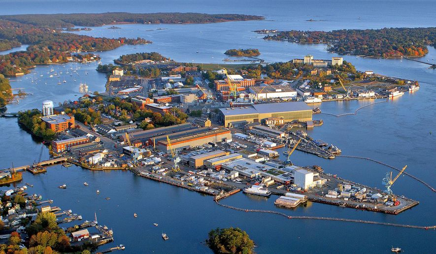 This October 2015 handout photo provided by the Portsmouth Naval Shipyard, shows the shipyard base in Kittery, Maine. Most Navy commanders don't have to run everything by a historic preservation committee but that's just one of the challenges Capt. David Hunt faces he continues the work of updating the nation's oldest continuously operated public shipyard. (Portsmouth Naval Shipyard via AP)