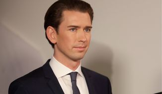 Foreign Minister Sebastian Kurz, head of Austrian People's Party, smiles in Vienna, Austria, Sunday, Oct. 15, 2017, after the closing of the polling stations for the Austrian national elections. (AP Photo/Matthias Schrader) ** FILE **