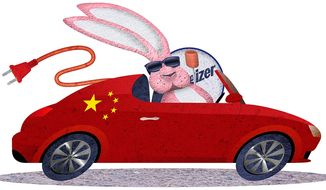 Illustration on China's designs on the electric car market by Greg Groesch/The Washington Times