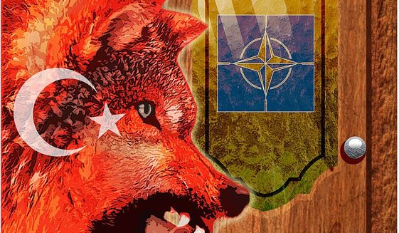 Illustration on NATO' difficult situation with member nation Turkey by Greg Groesch/The Washington Times
