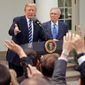 President Trump and Senate Majority Leader Mitch McConnell spoke to members of the media in the Rose Garden of the White House on Monday. (Associated Press)